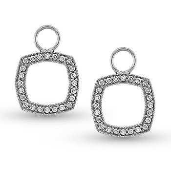 Diamond Cushion Earring Charms in 14k White Gold with 48 Diamonds weighing .27ct tw.