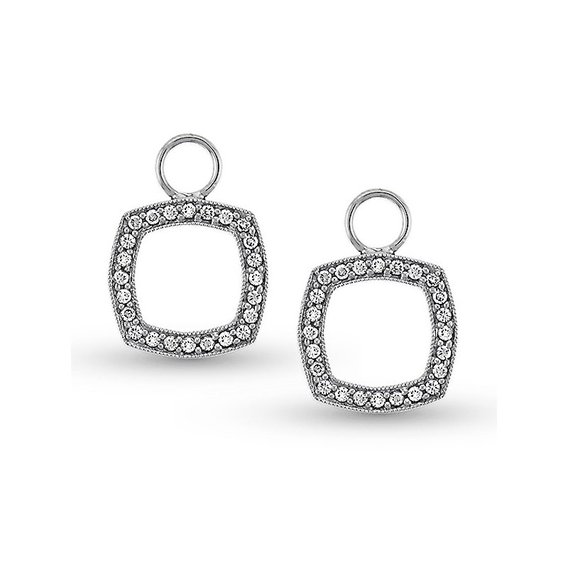 KC Designs Diamond Cushion Earring Charms in 14k White Gold with 48 Diamonds weighing .27ct tw.