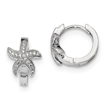 SS Rhodium-Plated CZ Brilliant Embers Starfish Hoop Earrings