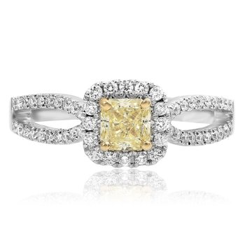 Two-Tone Cushion Shaped Diamond Ring