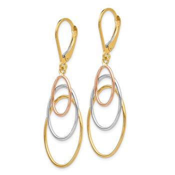 Leslie's 14K Tri-color Leverback Earrings