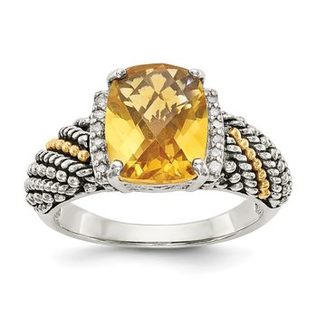 Sterling Silver w/14k Diamond and Citrine Ring