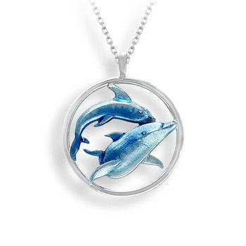 Blue Dolphins Necklace.Sterling Silver