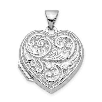 Sterling Silver Rhodium-plated 18mm Scroll Design Heart Locket