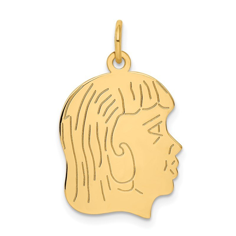 Quality Gold 14k .018 Depth Engravable Girl Head Charm