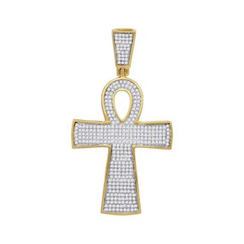 10kt Yellow Gold Mens Round Diamond Ankh Cross Religious Charm Pendant 3/4 Cttw
