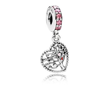 Tree Of Love Dangle Charm, Mixed Enamel Multi-Colored Cz