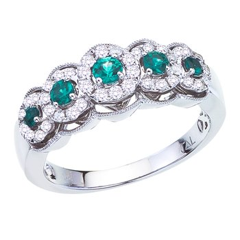 14k White Gold Emerald and Diamond 5 Stone Ring