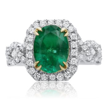 Emerald & Diamond Criss Cross Ring