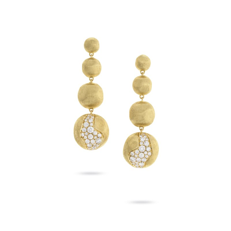 Marco Bicego Africa Constellation Long Graduated Pave Diamond Drop Earrings