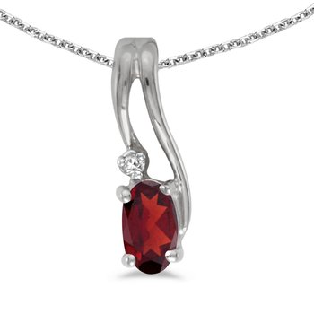 10k White Gold Oval Garnet And Diamond Wave Pendant