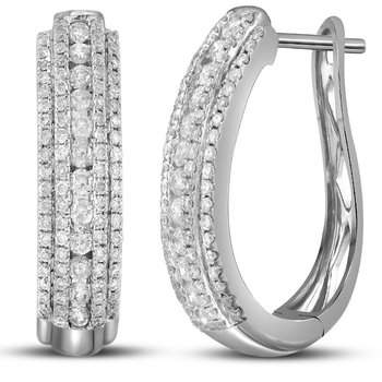 14kt White Gold Womens Round Diamond Oblong Hoop Earrings 1-1/5 Cttw