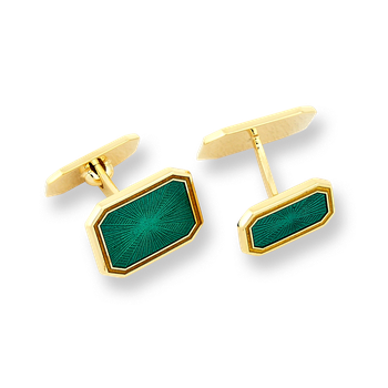 18 Karat Gold Hexagonal Cufflinks-Green