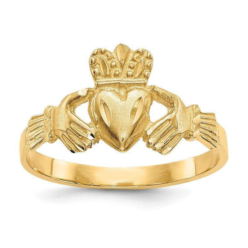 Quality Gold 14K Satin and Diamond-cut Claddagh Ring