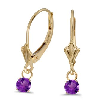 10k Yellow Gold 5mm Round Genuine Amethyst Lever-back Earrings