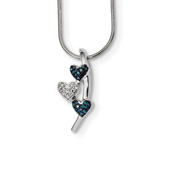 Sterling Silver Rhod Plated Polished Diamond/Blue Diamond Slide Necklace