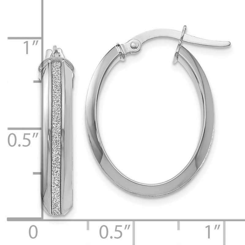 Leslie's Leslie's 14K White Gold Polished Glimmer Infused Oval Hoop Earrings