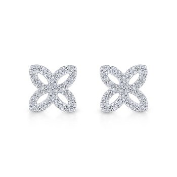 14K White Gold Open Floral Pavé Diamond Stud Earrings