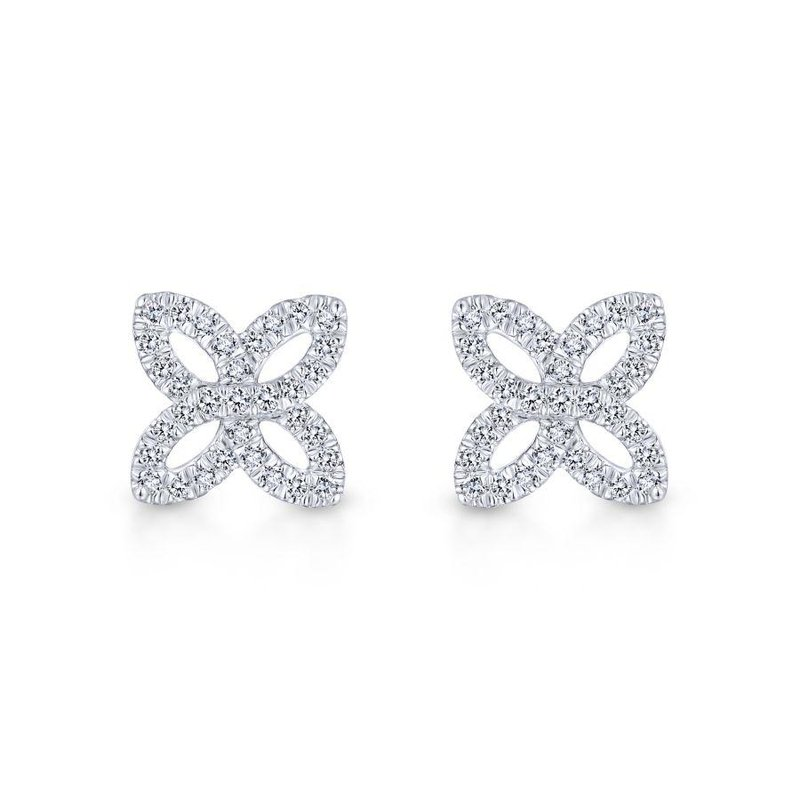Gabriel Fashion Top Picks 14K White Gold Open Floral Pavé Diamond Stud Earrings