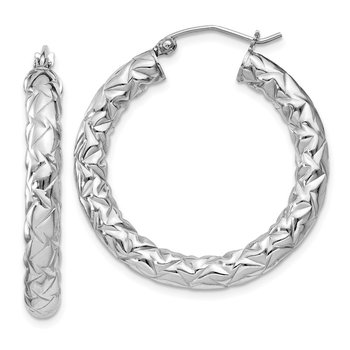 Sterling Silver Rhodium-plated Textured 4x30mm Hoop Earrings
