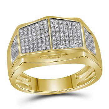 10kt Yellow Gold Mens Round Diamond Symmetrical Arched Square Cluster Ring 1/3 Cttw