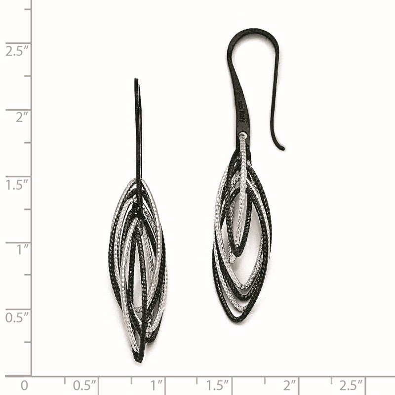 Leslie's Leslie's Sterling Silver Ruthenium-plated Laser Textured Earrings