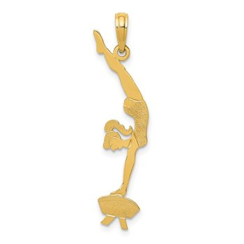 14k Solid Polished Gymnast Pendant