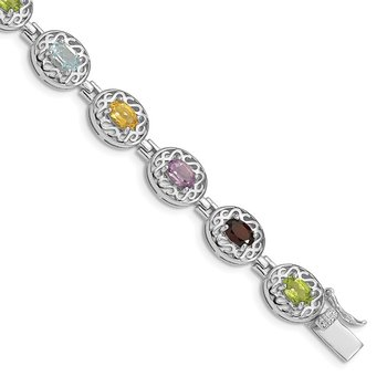 Sterling Silver Rhodium Plated 6.5inch Multi-gemstone Bracelet