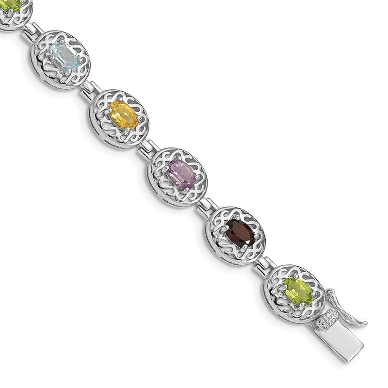 Quality Gold Sterling Silver Rhodium Plated 6.5inch Multi-gemstone Bracelet
