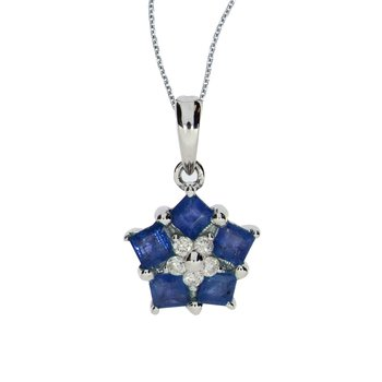 14k White Gold Sapphire and Diamond Floral Star Pendant
