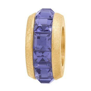 316L silk-finished stainless steel, gold pvd and violet Swarovski crystals