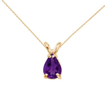 14k Yellow Gold Pear Shaped Amethyst Pendant