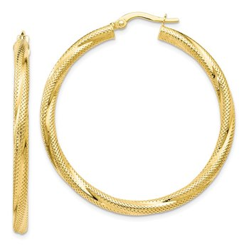 Leslie's 10K Twisted Hinged Hoop Earrings