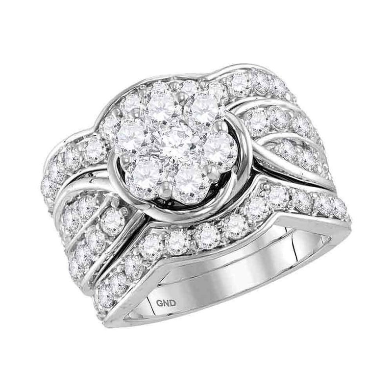 Gold-N-Diamonds 14kt White Gold Womens Round Diamond 3-Piece Flower Bridal Wedding Engagement Ring Band Set 3.00 Cttw