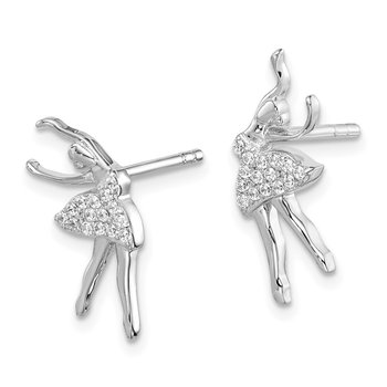 Sterling Silver Rhodium-plated CZ Ballerina Post Earrings