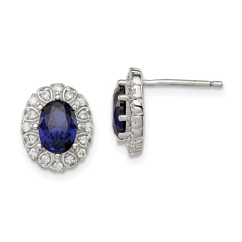 Quality Gold Sterling Silver CZ and Synthetic Sapphire Oval Post Earrings