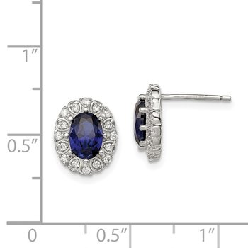 Sterling Silver CZ and Synthetic Sapphire Oval Post Earrings