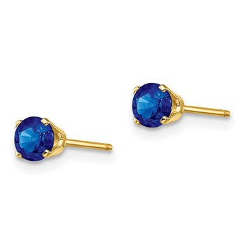 14k 4mm September/Sapphire Post Earrings
