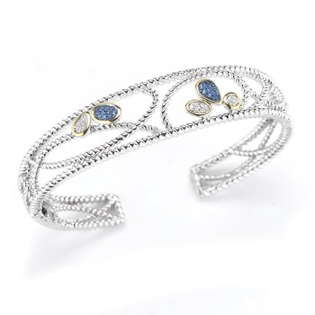 "Sterling Silver and 14K Yellow Gold Diamond and Blue Sapphire Bangle 1/2"" wide on top"