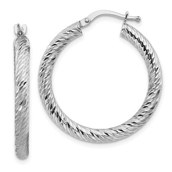 10k 3x20 White Gold Diamond-cut Round Hoop Earrings