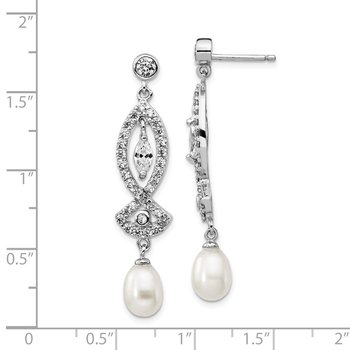 Cheryl M Sterling Silver CZ & FW Cultured Pearl Dangle Post Earring