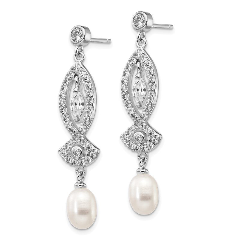 Cheryl M Cheryl M Sterling Silver Rhod Plated CZ & FWC Pearl Dangle Post Earrings