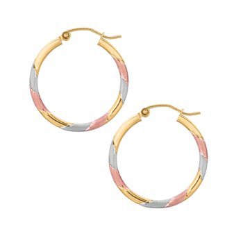 10K Polished & Matte Finish Hoop Earring