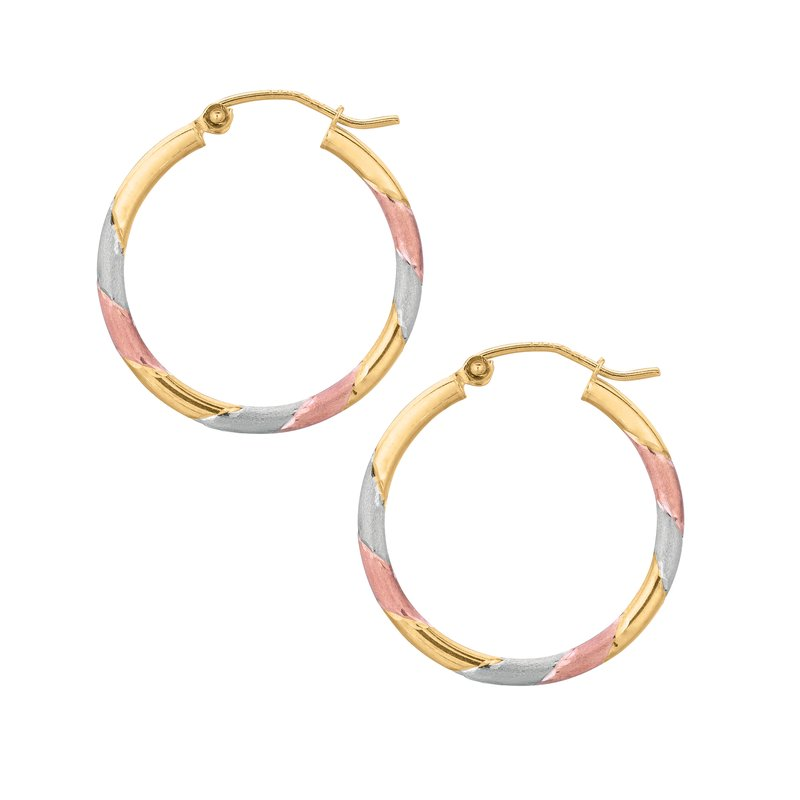Royal Chain 10K Polished & Matte Finish Hoop Earring