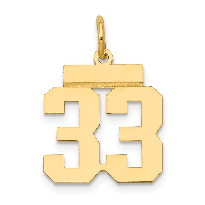Quality Gold 14k Small Polished Number 33 Charm