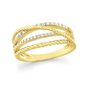 14K Gold and Diamond Basket Weave Ring