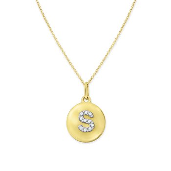 Diamond Uppercase Mini Disc Initial S Necklace