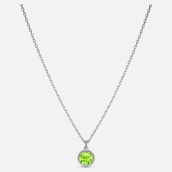 Birthstone Pendant, August, Green, Rhodium plated