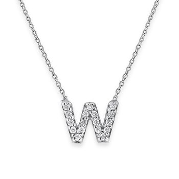 Diamond Bitty Block Initial W NecklaceW
