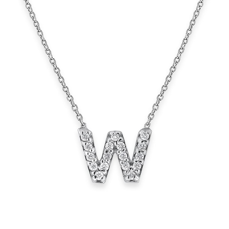 KC Designs Diamond Bitty Block Initial W NecklaceW